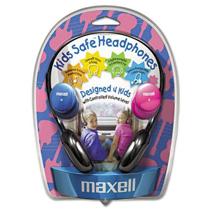 Maxell 190338 Kids Safe Headphones, Pink/Blue/Silver