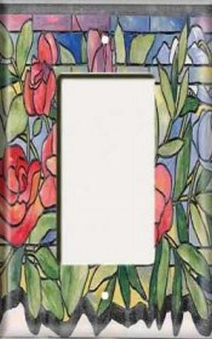 Single Rocker Plate - Stained Glass Roses