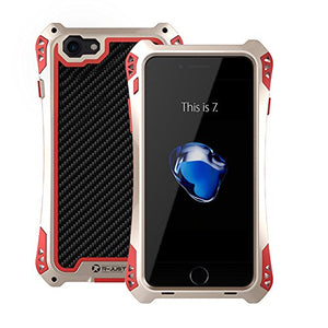 NEW 2016 R-JUST Waterproof Shockproof Carbon Fiber Gorilla Tempered Glass Aluminum Metal Armor Case Cover For Iphone7 - Gold & Red