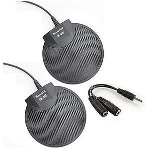 Sound Tech CM-1000X2-Y88 (Pack of 2) Table Top Conference Meeting Microphone with Omni-Directional Stereo 3.5mm Plug & Audio Spliter