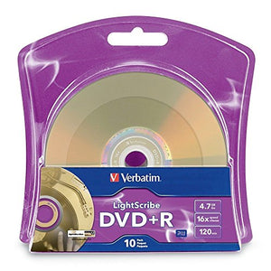 Verbatim 16x DVD+R LightScribe Blank Media, 4.7GB/120min - 10 Pack (96943)