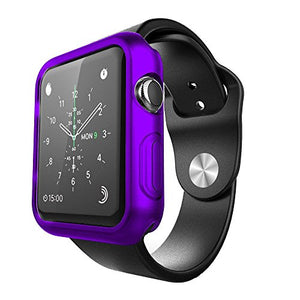 FastSun Ultra Thin Premium Semi-transparent Lightweight Case Soft TPU Protective Bumper Cover For Apple Watch /Sport/Edit 42mm (Purple)