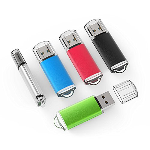 Topesel 5 Pack 4 Gb Usb 2.0 Flash Drive Memory Stick Thumb Drives (5 Mixed Colors: Black Blue Green R