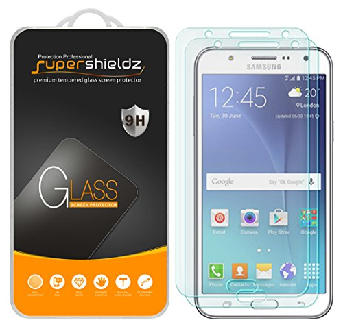 Supershieldz (2 Pack) for Samsung Galaxy J7 Tempered Glass Screen Protector, Anti Scratch, Bubble Free
