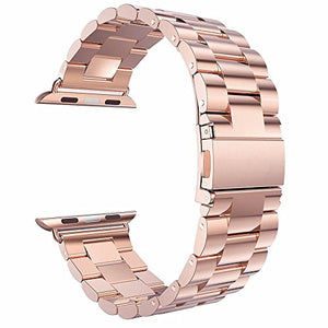 Dahase Compatible for Apple Watch Strap, Stainless Steel Bracelet Replacement Wristband Watch band for iWatch Series 5 4 3 2nd 1st All Versions -Rose Gold 42mm /44mm