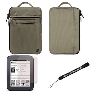 Gray Mighty Nylon Jacket Slim Compact Protective Sleeve Bag Case for Barnes and Noble Nook Simple Touch eBook Reader BNRV300 and Screen Protector and Hand Strap