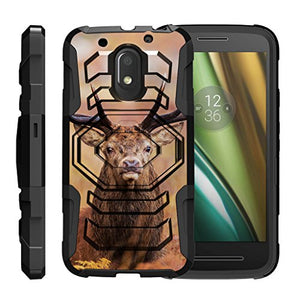 TurtleArmor | Compatible with Motorola Moto E3 Case | Moto E 3rd Gen | Moto G4 Play Case [Octo Guard] Dual Layer Hybrid Armor Belt Clip Holster Impact Tough Kickstand Case Animal - Nature Deer