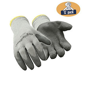 RefrigiWear Thermal Ergo Knit Work Gloves with Textured Rubber Latex Coated Palm, Pack of 12 Pairs (Gray, Large)