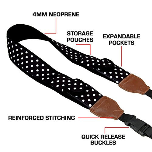 USA GEAR TrueSHOT Camera Strap with Polka Dot Neoprene Pattern , Accessory Pockets and Quick Release Buckles - Compatible With Canon , Nikon , Sony and More DSLR , Mirrorless , Instant Cameras