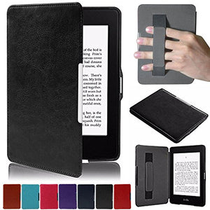 Artyond Kindle Paperwhite Case, Crazy Horse Pattern PU Leather Case [Hand Strap Holder] Smart Magnetic Soft Case For Amazon Kindle Paperwhite 1 2 3(Fits All 2012, 2013, 2015 and 2016 Versions) (black)