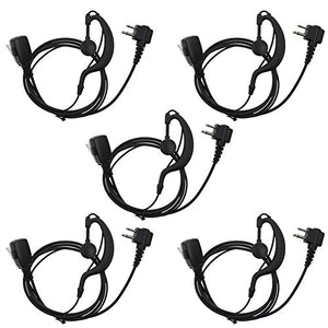 AOER 2-Pin G Shape Earpiece Headset for Motorola Radio cls1110 cls1410 cls1413 cls1450 cls1450c etc(5 Pack)