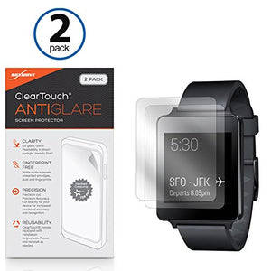 LG G Watch W100 Screen Protector, BoxWave [ClearTouch Anti-Glare (2-Pack)] Anti-Fingerprint Matte Film Skin for LG G Watch W100