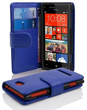 Cadorabo Case Works with HTC 8S in Navy Blue (Design Book Structure) - with 2 Card Slots - Wallet Case Etui Cover Pouch PU Leather Flip