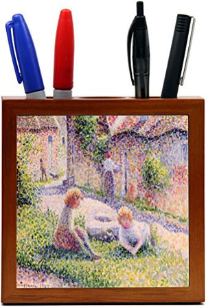 Rikki Knight Georges-Pierre Seurat Art Children on a Farm Design 5-Inch Wooden Tile Pen Holder (RK-PH3043)