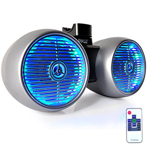 Waterproof Marine Wakeboard Tower Speakers - 6.5 Dual Subwoofer Speaker Set and 1.0 Tweeters, LED Lights and 400 Watt Power - 2-way Boat Audio System with Mounting Bracket - PLMRWB652LES (Silver)
