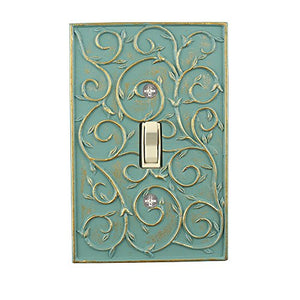 Meriville French Scroll 1 Toggle Wallplate, Single Switch Electrical Cover Plate, Buckingham Green with Gold