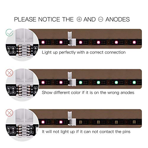 20 Pcs 4 Pin RGB LED Light Strip Connector JACKYLED PBC 10mm Strip to Strip Solderless Connector for SMD 5050 Multicolor LED Strip