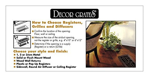 Decor Grates ST410 Floor Register, 4-Inch by 10-Inch, Textured Black