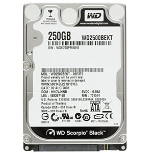 Western Digital (WD) Black 250 GB (250gb) Mobile Hard Drive: 2.5 Inch, 7200 RPM, SATA II, 16 MB Cache-1 Year Warranty for Laptop, Mac, PC, and PS3