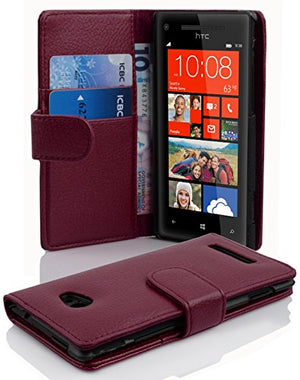 Cadorabo Case Works with HTC 8X in Pastel Purple (Design Book Structure) - with 2 Card Slots - Wallet Case Etui Cover Pouch PU Leather Flip