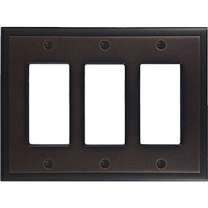 Questech Ambient Satin Metal Composite Switch Plate/Wall Plate/Outlet Cover (Triple Decorator, Oil Rubbed Bronze)