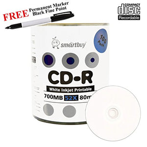 Smartbuy 100-disc 700mb/80min 52x CD-R White Inkjet Hub Printable Blank Media Disc + Black Permanent Marker