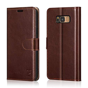 Belemay Samsung Galaxy S8 Case, Genuine Cowhide Leather Wallet Case, Premium Folio Flip Book Cover with Magnetic Closure, Kickstand, Card Holder Slots, Cash Pockets Compatible Samsung Galaxy S8, Brown
