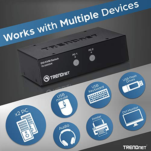 TRENDnet 2-Port DVI KVM Switch with Audio, Manage Two PC's, Hot-Keys, USB 2.0, Metal Housing, Use with a DVID-D Monitor, TK-222DVK