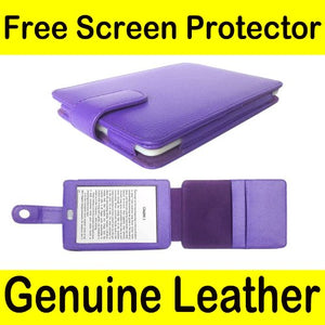 Mochie (tm) Genuine Leather Pouch Case Cover Jacket for Amazon Kindle Touch (Notepad style) Purple