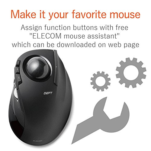 ELECOM M-DT2DRBK Wireless index finger Trackball mouse , EX-G series L size 2.4GHz 8 buttons Black