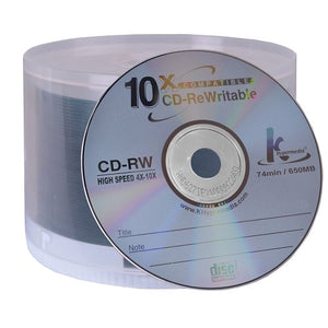 KHypermedia 4x-10x 650MB 74-Minute CD-RW Media 50-Piece Spindle