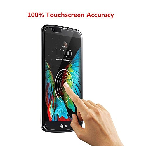 LG K10 Screen Protector,TANTEK [Bubble-Free][HD-Clear][Anti-Scratch][Anti-Glare][Anti-Fingerprint] Premium Tempered Glass Screen Protector for LG K10,-[2Pack]