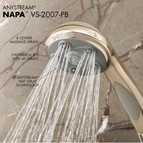 Speakman VS-2007-PB Napa Anystream Multi-Function Adjustable Handheld Shower Head, 2.5 GPM, Polished Brass