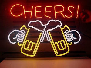 Cheers Beer Real Glass Neon Light Sign Home Beer Bar Pub Recreation Room Game Room Windows Garage Wall Store Sign (17