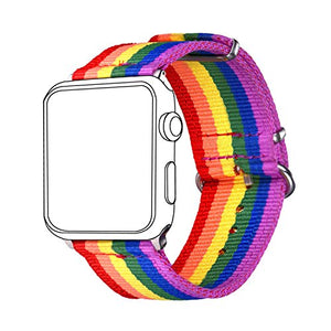Bandmax Compatible Rainbow Apple Watch Bands LGBT, Comfortable&Durable Sport Straps Nylon Replacement Wristband Accessories with Metal Buckle Compatible iwatch Series 4/3/2/1 42MM 44MM
