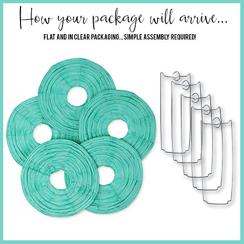 Just Artifacts 6-Inch Seafoam Chinese Japanese Paper Lanterns (Set of 5, Seafoam)