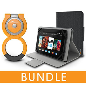 roocase Universal Tablet Orb Bundle, Folio Case Cover Stand for 7 inch Tablet with Orb Loop Stand, Canvas Gray