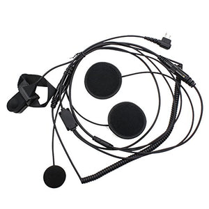 TENQ Full Face Earpiece Headset with Mic Microphone for 2 pin Two Way Radio Walkie Talkie Motorola