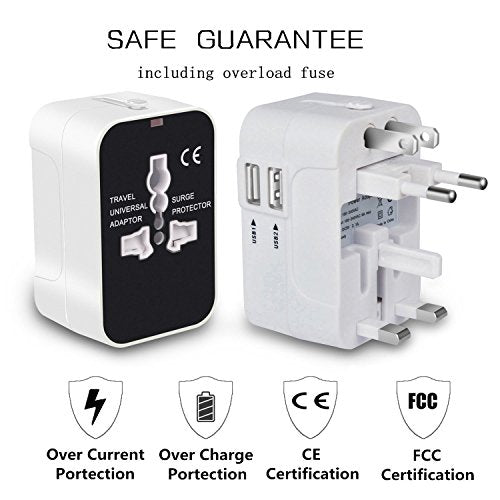 NEWVANGA International Universal All in One Worldwide Travel Adapter Wall Charger AC Power Plug Adapter with Dual USB Charging Ports for USA EU UK AUS European Cell Phone Laptop