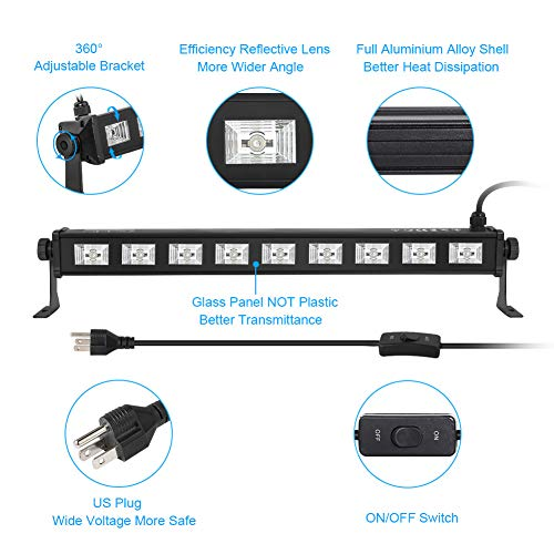 Oppsk Black Light For Home Party, 27 W 9 Led Uv Blacklight Bar Fit For 16x16ft Glow In The Dark Party