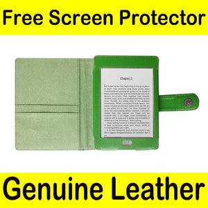 Mochie (tm) Genuine Leather Pouch Case Cover Jacket for Amazon Kindle Touch Green