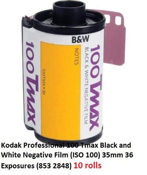 Kodak Professional 100 Tmax Black and White Negative Film (ISO 100) 35mm 36 Exposures (853 2848) 10 rolls