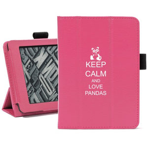 Hot Pink For Amazon Kindle Paperwhite Leather Magnetic Case Cover Stand Keep Calm and Love Pandas