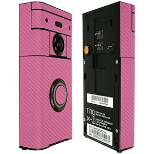 Skinomi Pink Carbon Fiber Full Body Skin Compatible with Ring Video Doorbell (Wi-Fi Enabled)(Full Coverage) TechSkin Anti-Bubble Film