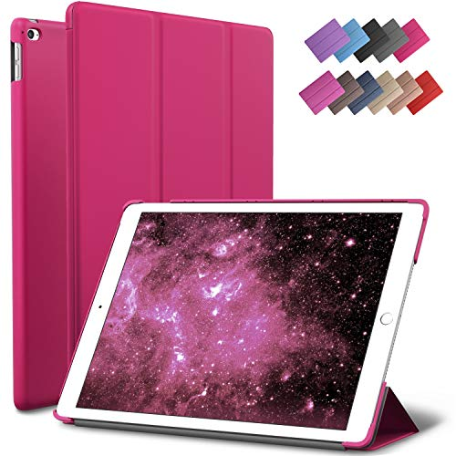 iPad Air 2 Case, ROARTZ Magenta Slim Fit Smart Rubber Coated Folio Case Hard Shell Cover Light-Weight Auto Wake/Sleep for Apple iPad Air 2nd Generation A1566/A1567 Retina Display