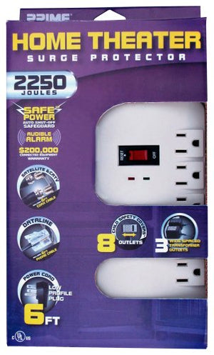 Prime PB003124 Home Theater/Satellite TV 8-Outlet 2250-Joule Surge Protector