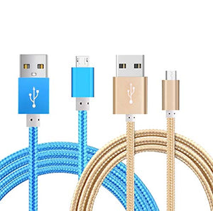 Kindle Powerline [2 Pack] 5-FT Cable Length iBarbe Nylon Braided Reversible Micro USB Cables High Speed USB 2.0 (Works with Most Micro-USB Tablets and Kindle E-Book Reader) MicroUSB to USB