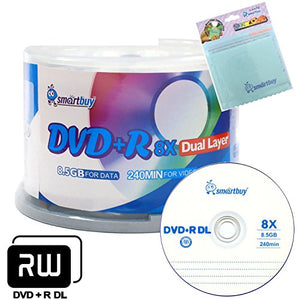 Smartbuy 50-disc 8.5GB/240min 8X DVD+R DL Logo Top Blank Media Record Disc + Free Micro Fiber Cloth