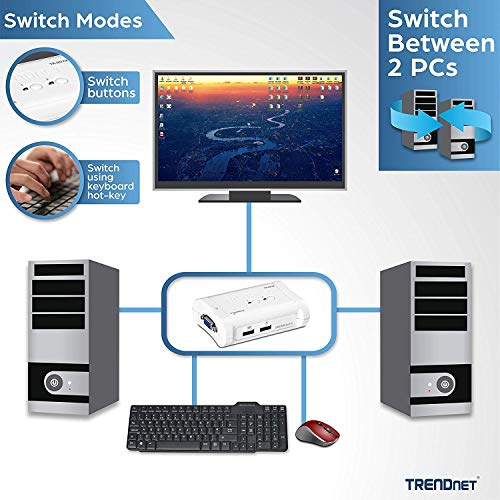 TRENDnet 2-Port USB KVM Switch and Cable Kit, Device Monitoring, Auto-Scan, Audible Feedback, USB 1.1, Windows, Linux, TK-207K