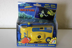 LeClic Tuff Underwater 35 mm Camera with Flash (5S0520-00) Includes Underwater Housing Good Down to 20 M/60 Ft Approximate Dimensions 5.25 W X 2.75 H X 1.5 D Bright Yellow with Blue Accents